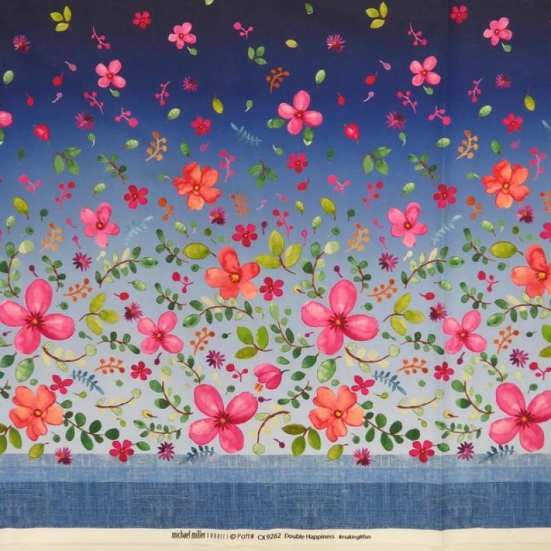 Patchwork stof med blomster i bort i blå