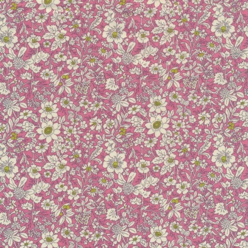 Bomulds-poplin med blomster rosa off-white lime