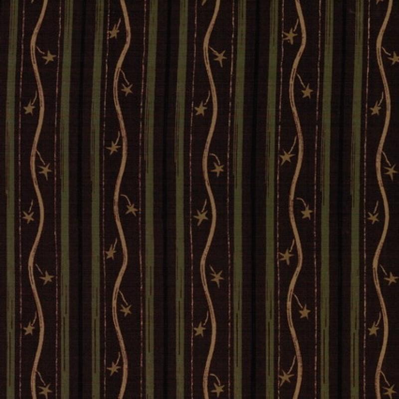 Afklip Patchwork stof med stribemønster i rødbrun, army og beige-33