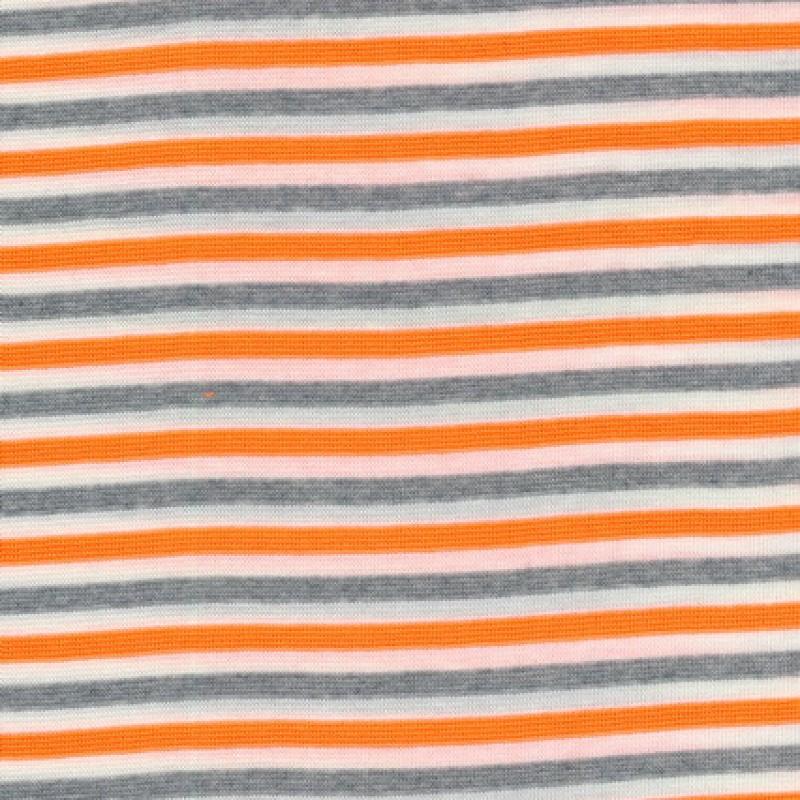 50 cm.Stribet rib off-white/grå-meleret/neon orange-35
