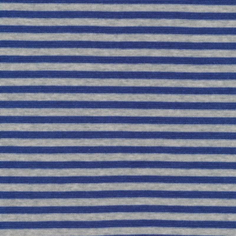 Rest Stribet rib lysegrå meleret/blå 20 cm.-35