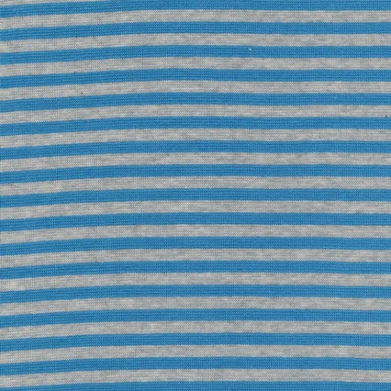 50 cm. Stribet rib meleret lysegrå/turkis-blå-33