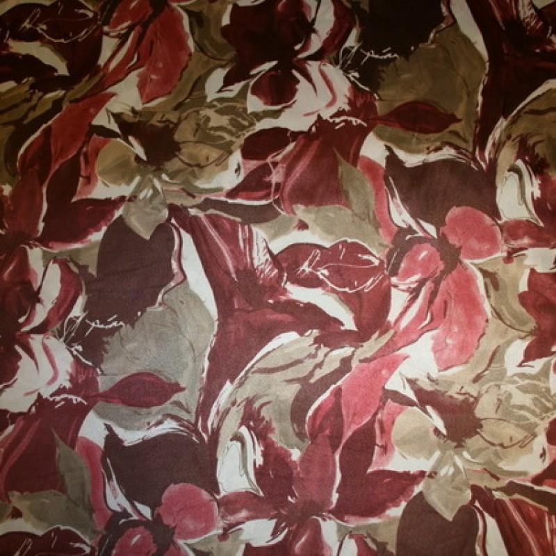 Satin m/blomster, rosa/bordeaux/sand/hvid