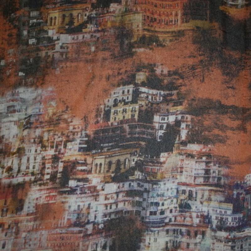 Silke-chiffon m/by, brændt orange/sort/grå-31