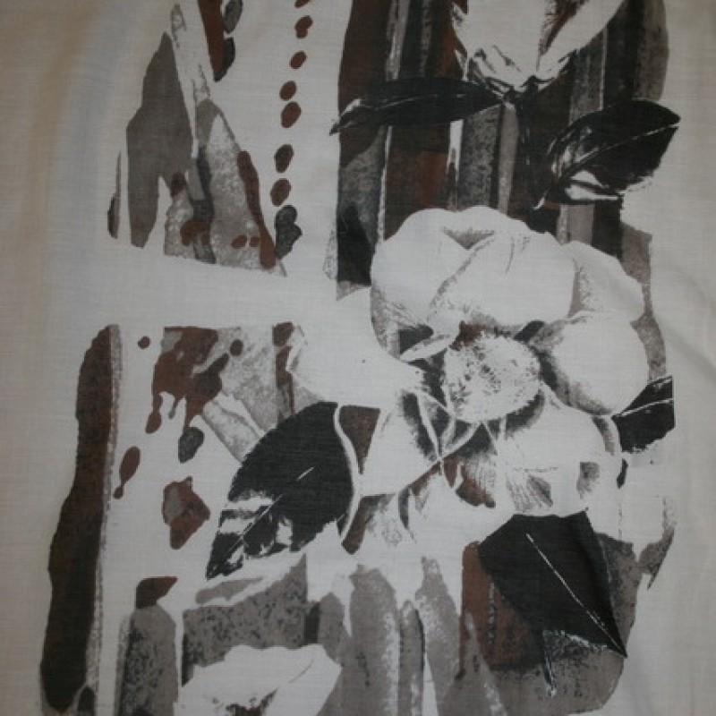 Bomuld/silke-voil m/blomster-motiv, hvid/brun/grå-35