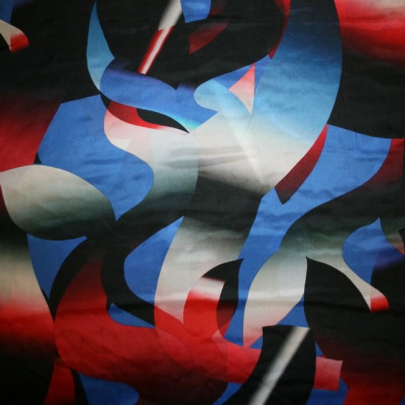 100% silke mønstret i grå blå rød-33