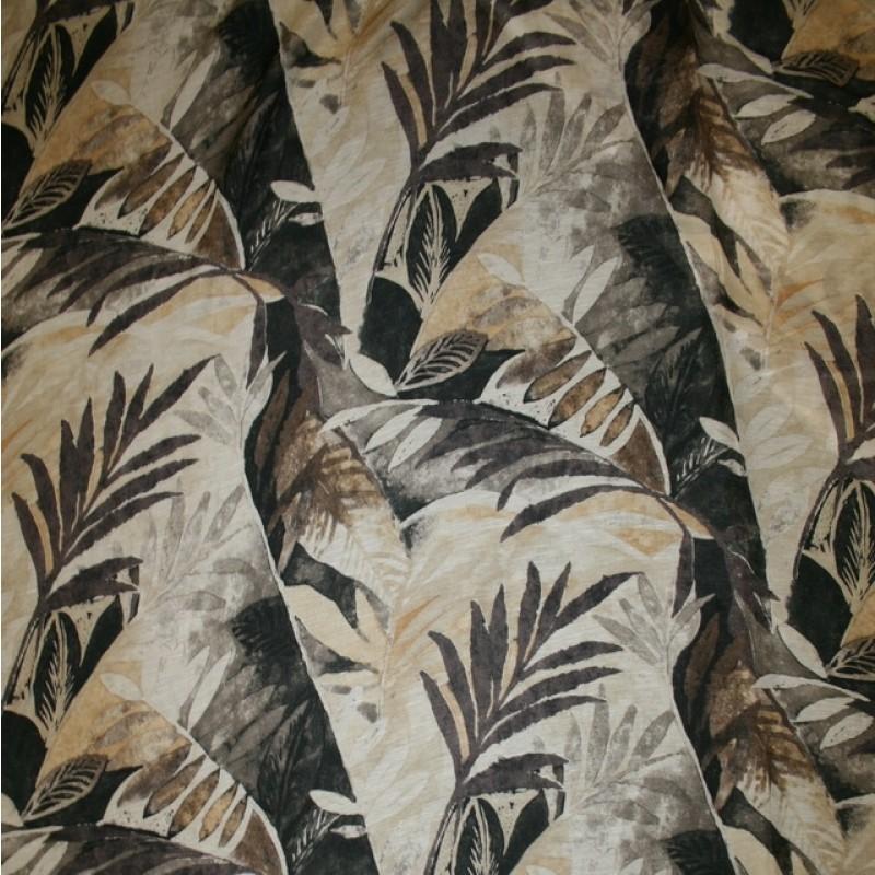Bomuld/Silke-chiffon med palmeblade beige brun-35
