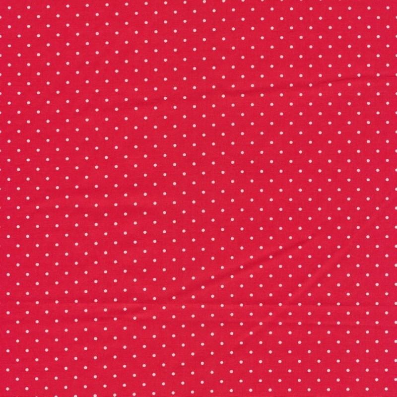 Skjorte poplin med stræk, rød med hvide små prikker-36