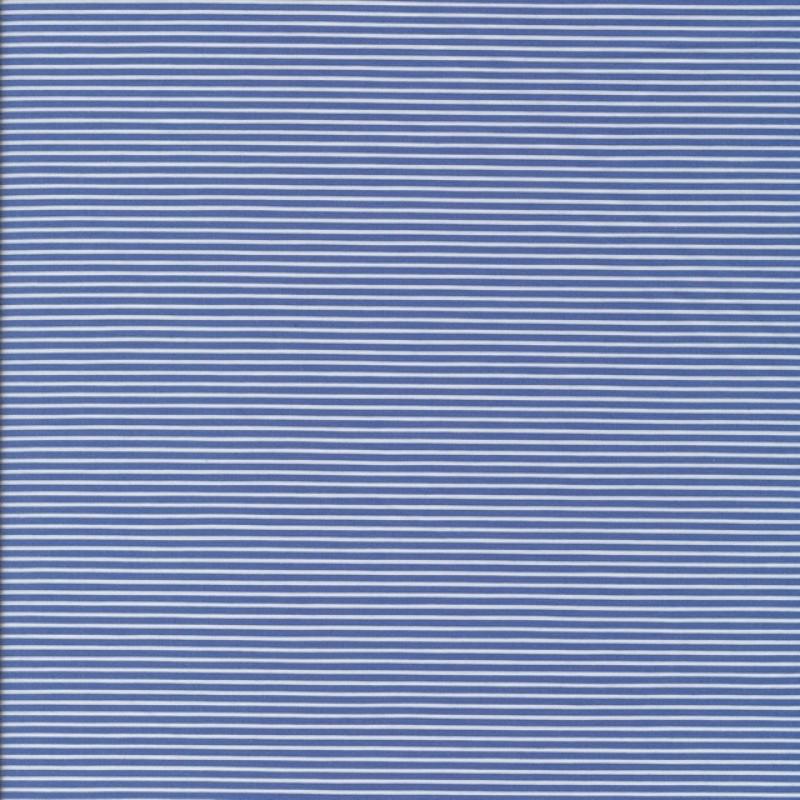 Skjortestof med smal strib i blå og hvid-33
