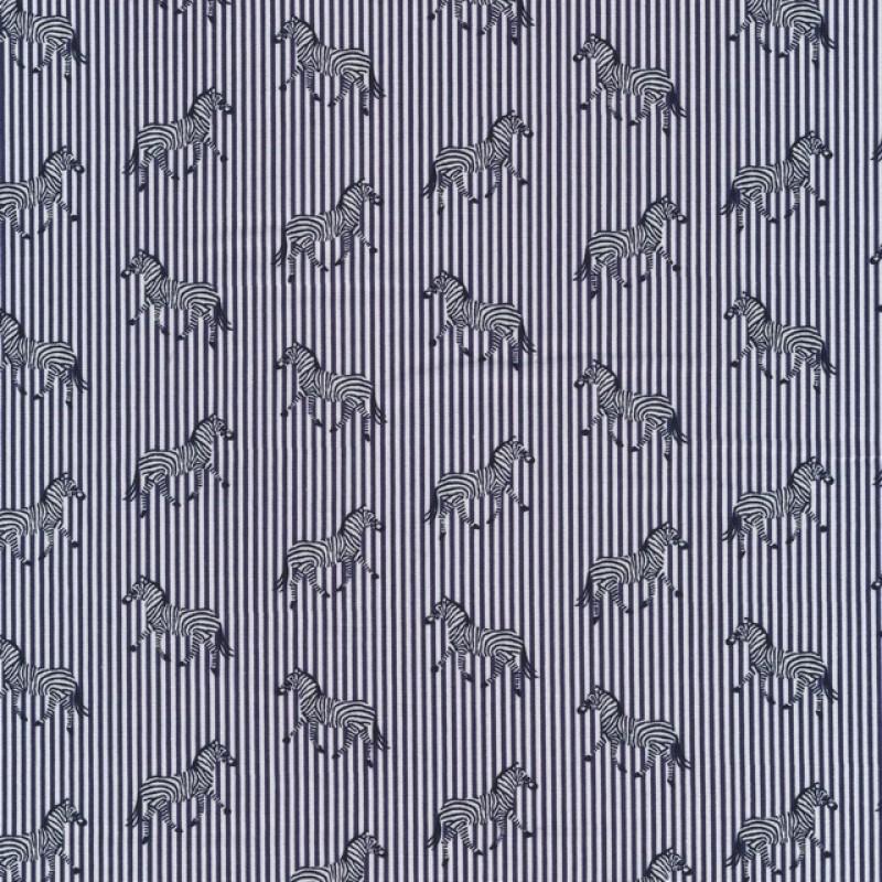 Skjortestof med smal strib og zebra i blå og hvid-34