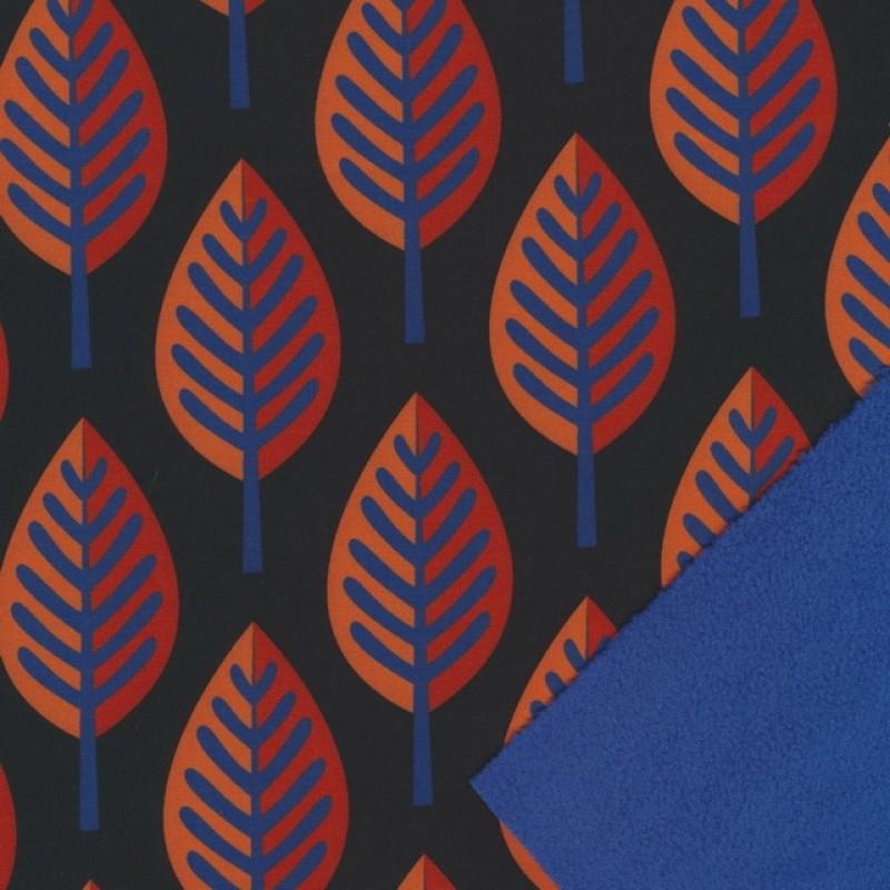 Softshell med blade i sort og koboltblå-33