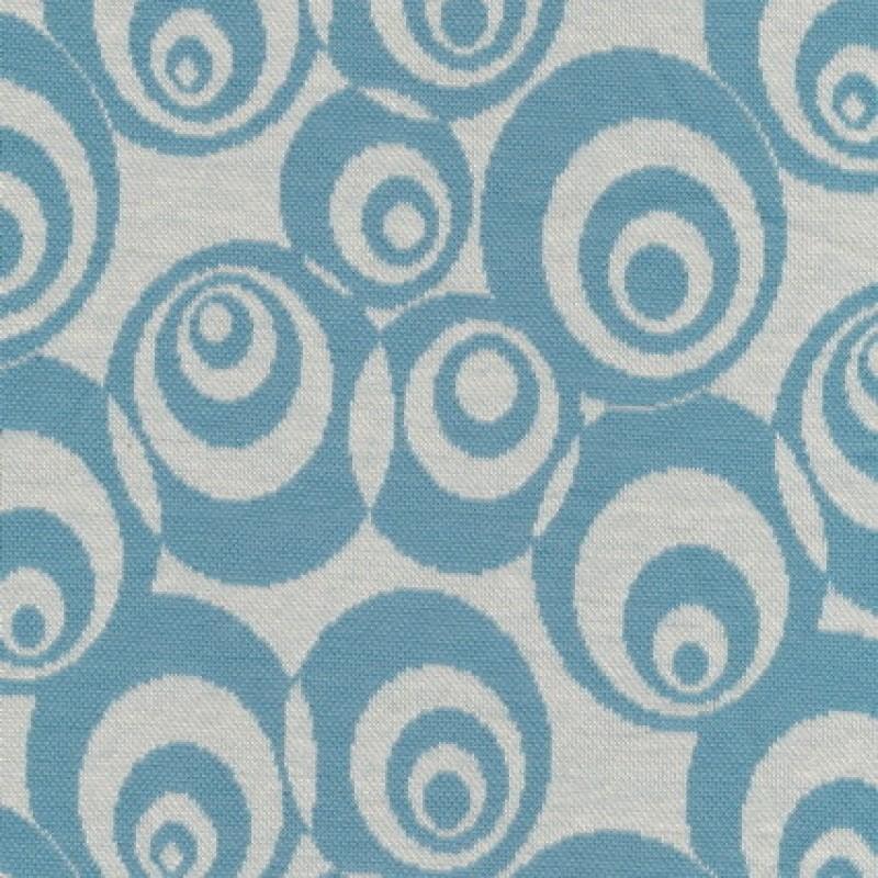 Afklip Jacquard strik m/cirkler off-white/støvet lyseblå, 75 cm.-35