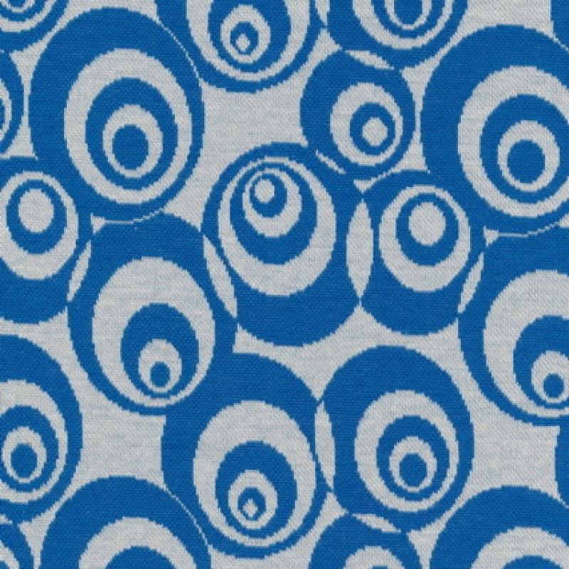 Afklip Jacquard strik m/cirkler off-white/klar blå 75 cm.-35