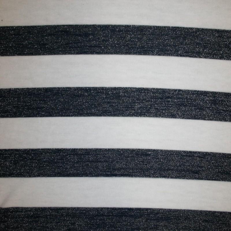 Let strik/jersey stribet hvid/mørkeblå m/glimmer-33