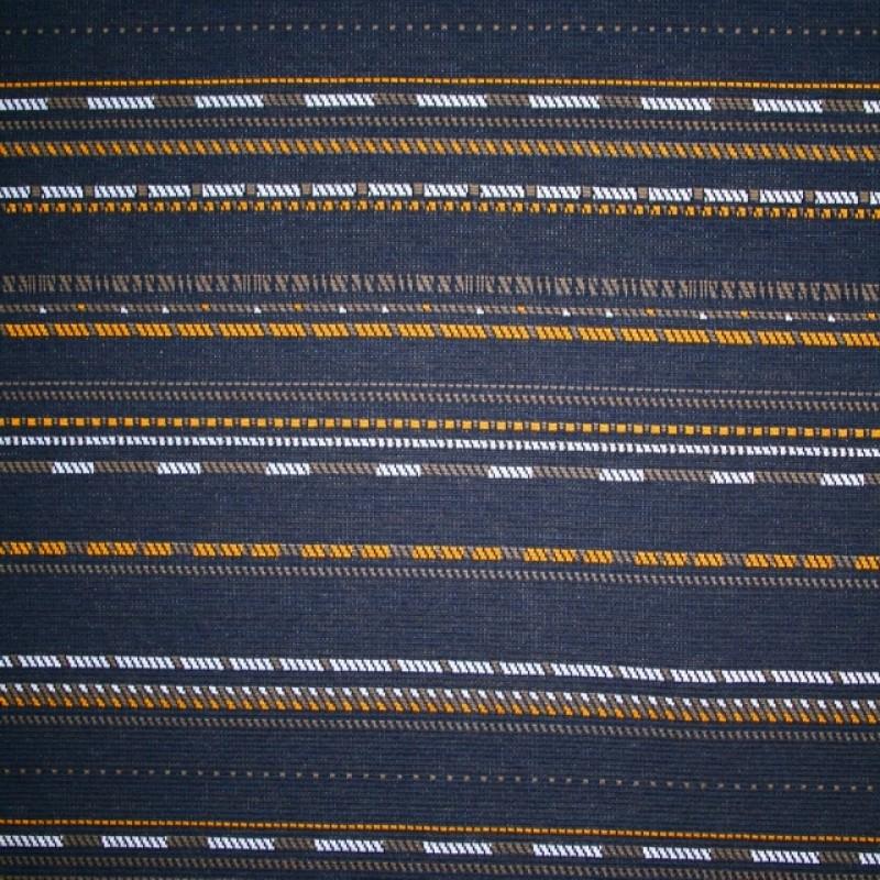 Jacquard strik mørkeblå med striber i carry og army