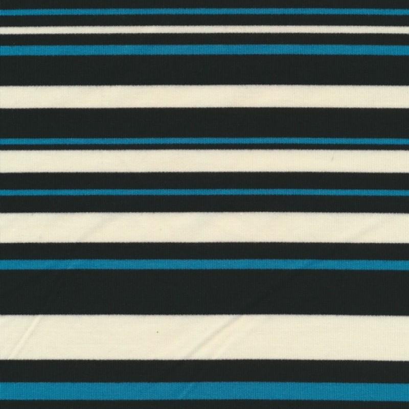 Strik i viskose polyester med striber i sort hvid turkis