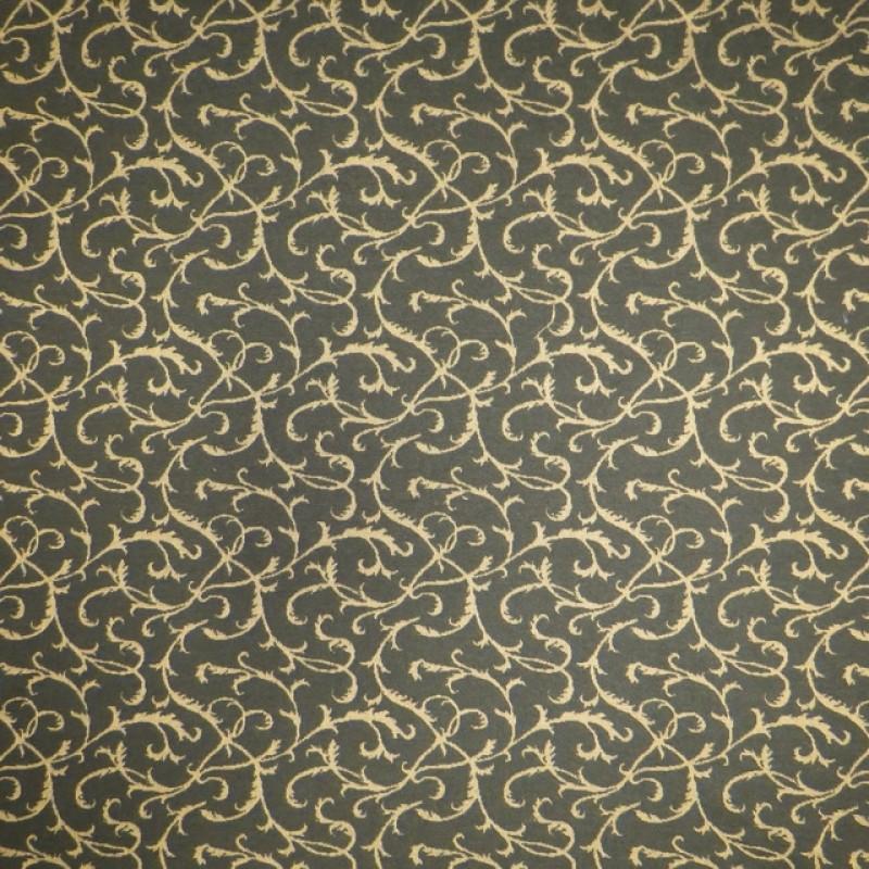 Jacquard strik med snirkel-mønster i mørk army og guld-look