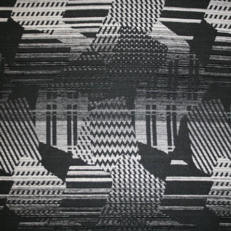Mønstret uld sort/grå/off-white-33
