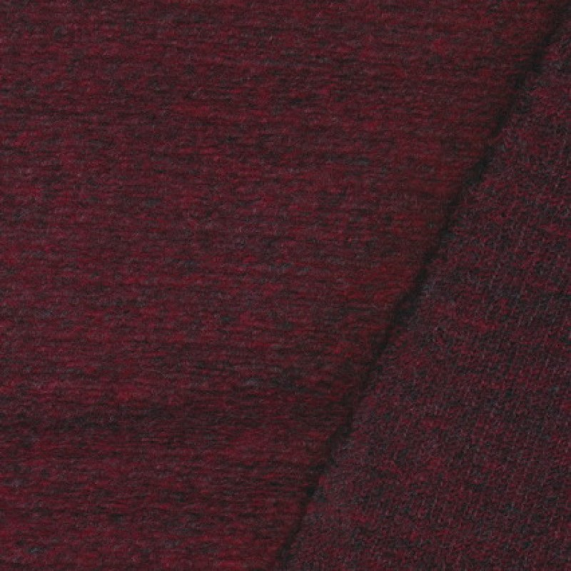 Filtet uld/strik, meleret mørk rød/grå-35
