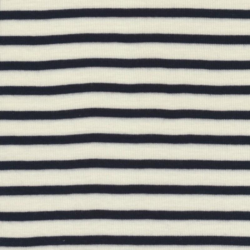 Ribstrikket 100% uld stribet offwhite og mørkeblå
