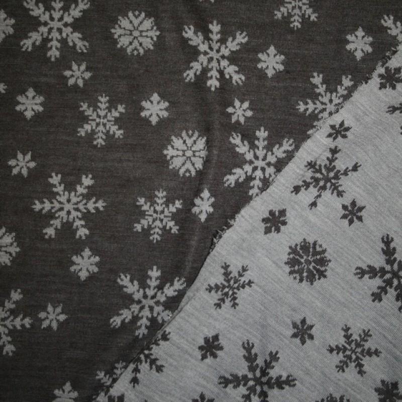 Ribstrikket jacquard uld 2-sidet med snekrystaller i mørkegrå og lysegrå-39