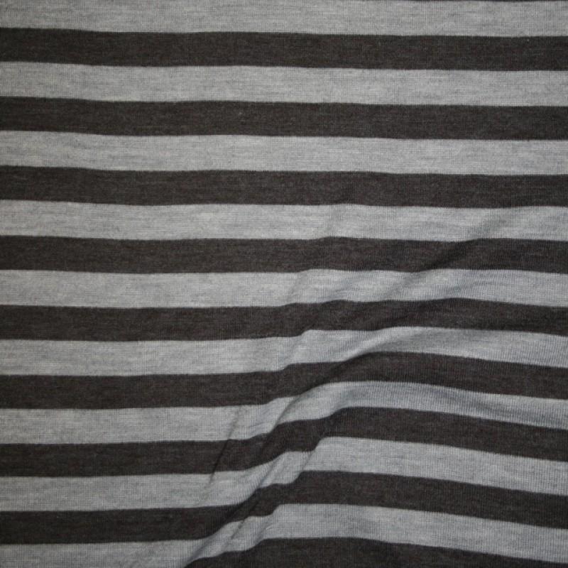 Ribstrikket jacquard uld stribet i mørkegrå og lysegrå-310