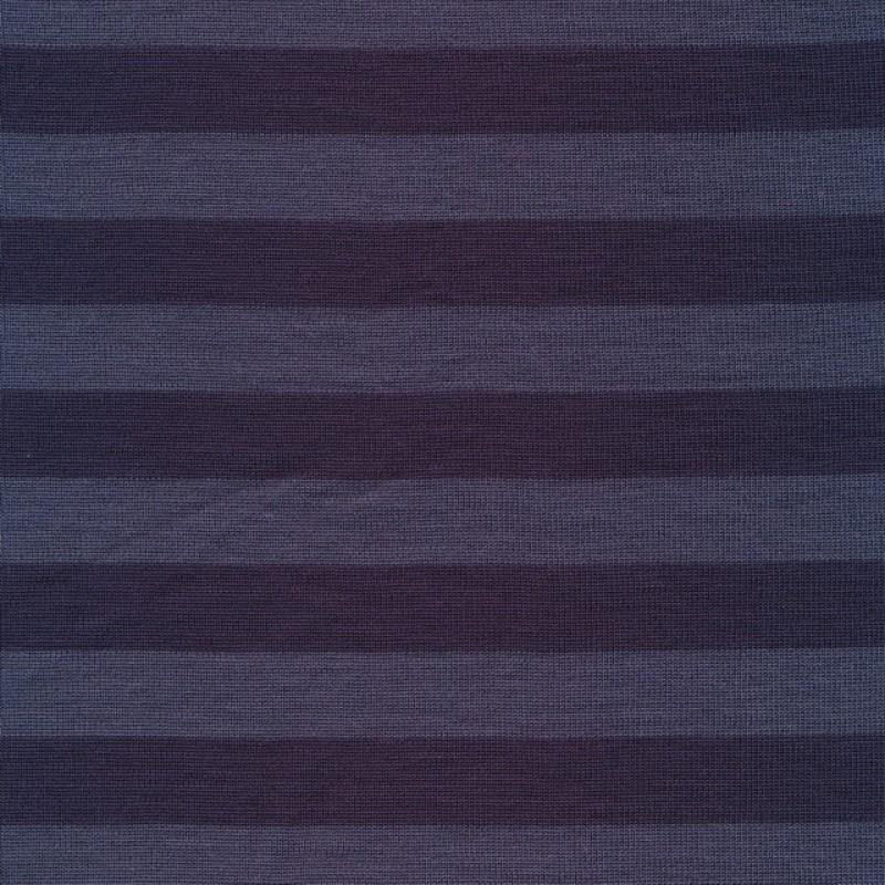 Ribstrikket uld/polyester stribet denim og støvet blå