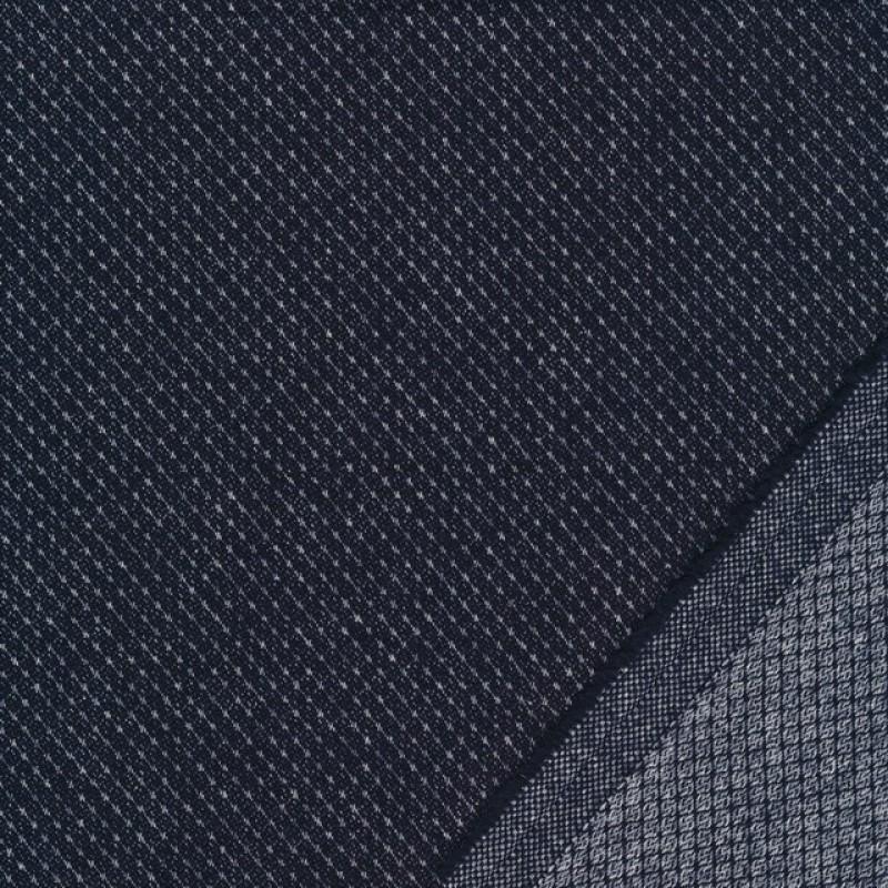 Tweed let mønstret i mørkeblå og lysegrå-39