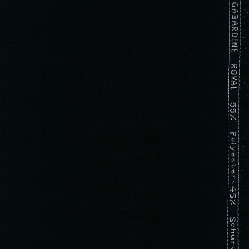 Twill-vævet uld-garbardine i sort-36