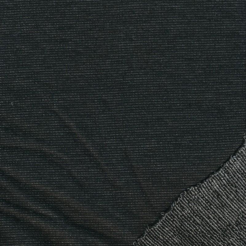 Strikket uld/viskose i sort og grå