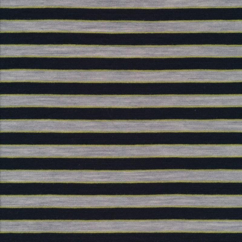 Strikket uld stribet i marine, lime og grå