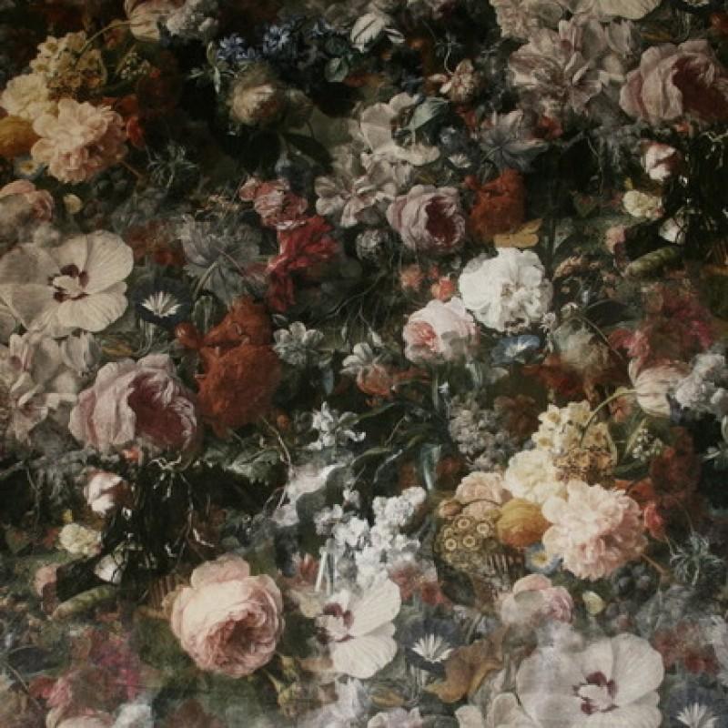 Velour m/digitalt blomster-print grå/grøn/rosa-33