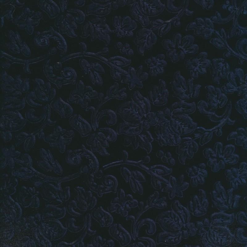 Velour med præget blad ranker, marine-32