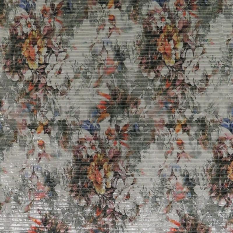 Velour jersey m/stræk blomstret i lysegrå-36