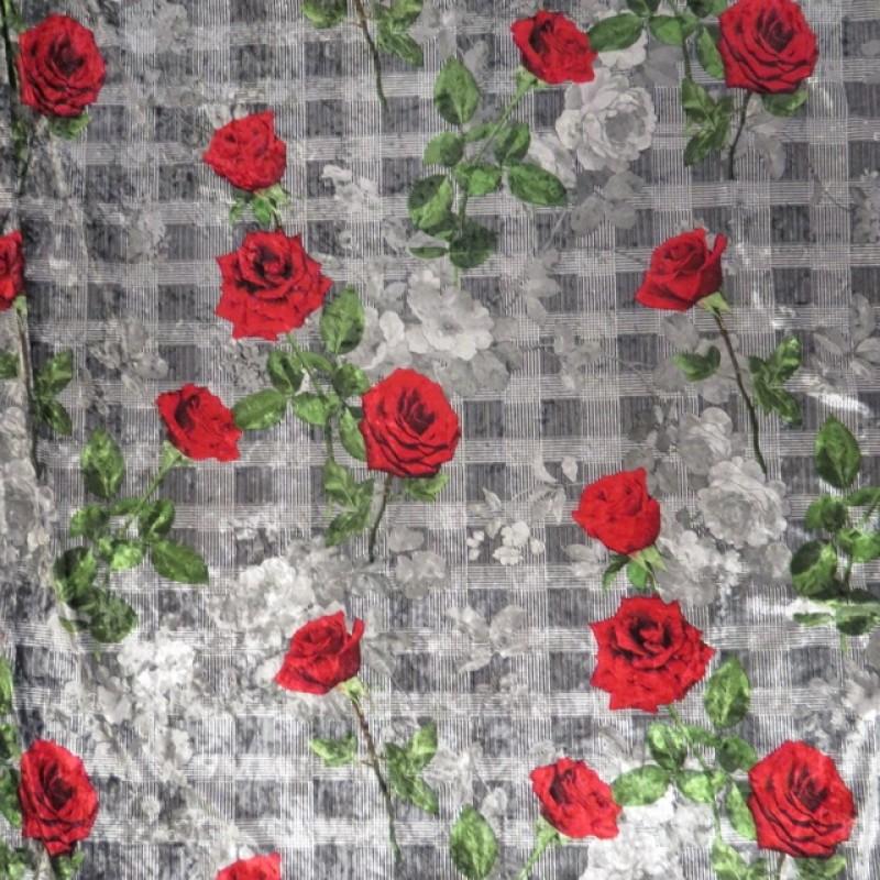 Spantex Velour med tern i grå og sort med roser-36