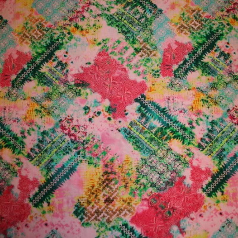 Mønstret viscose lyserød/græsgrøn/pink-31