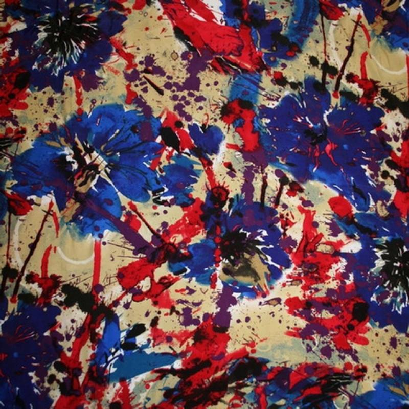 Rest 100% viscose m/blomster/pletter, blå/rød/beige, 35 cm.-34
