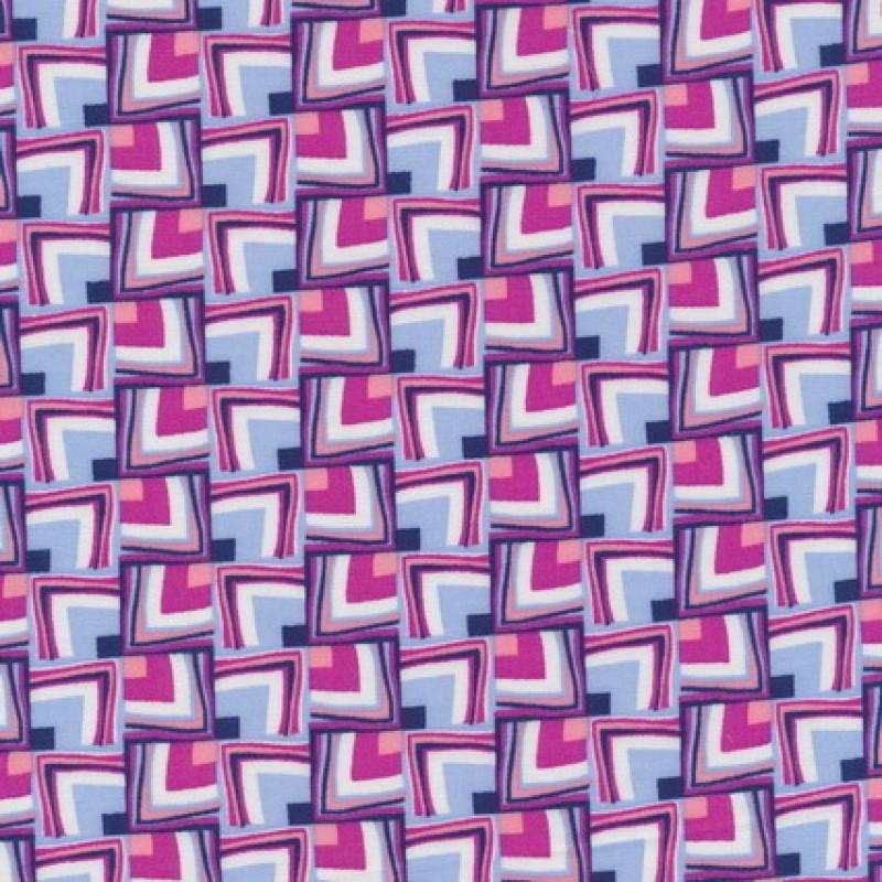 Rest 100% viscose m/firkanter mønster lyseblå/hvid/pink-45 cm.-35