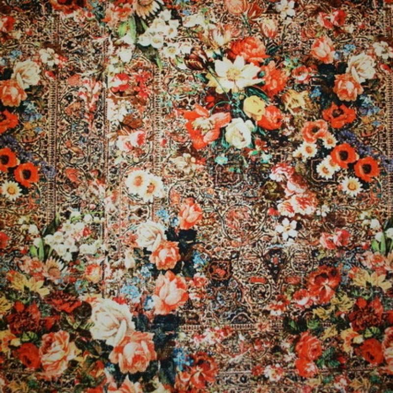 Rest 100% viscose m/blomster orange/sort/gul, 39 cm.