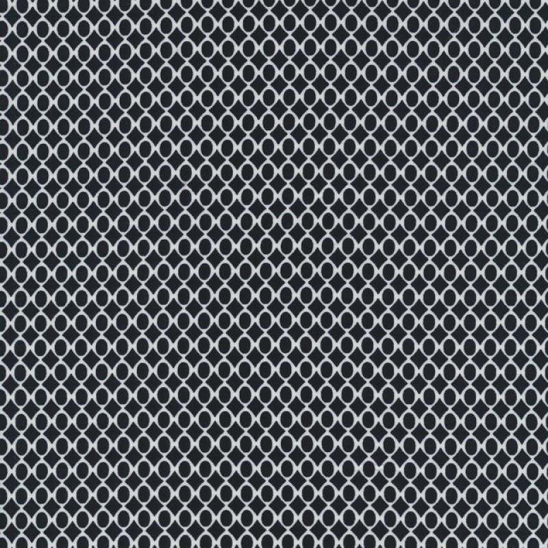 Rest 100% viscose lille oval mønster, sort hvid, 80 cm.-33