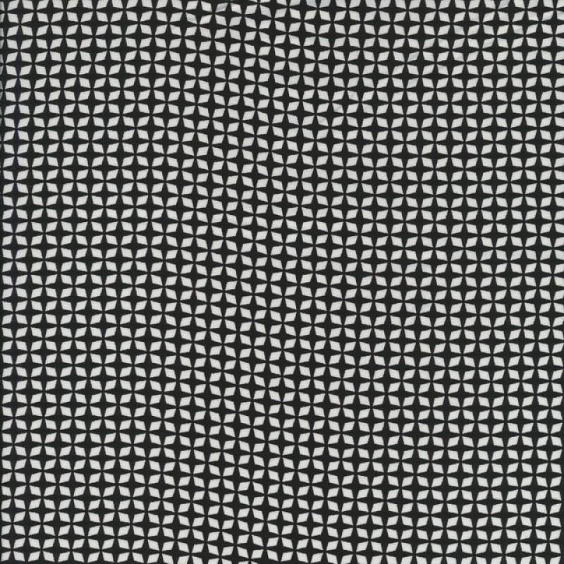 Rest Fast viscose med lille mønster sort - hvid, 100 cm.