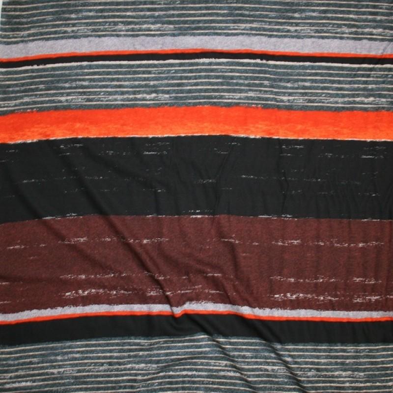100% viskose med brede striber i rød-brun orange sort