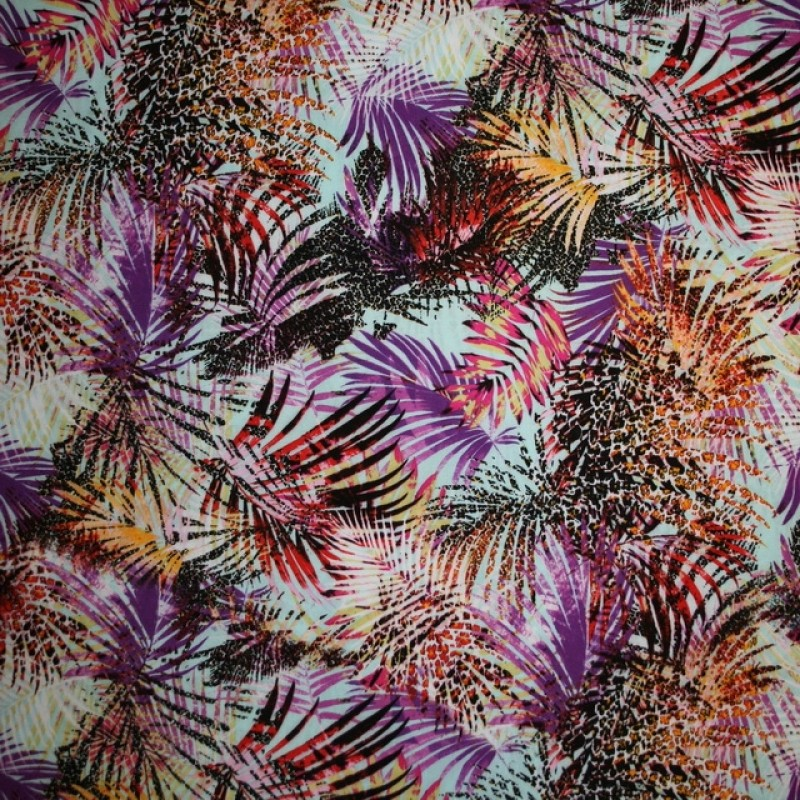 Rest 100% viskose med palme blade og dyreprint, 70 cm.-311