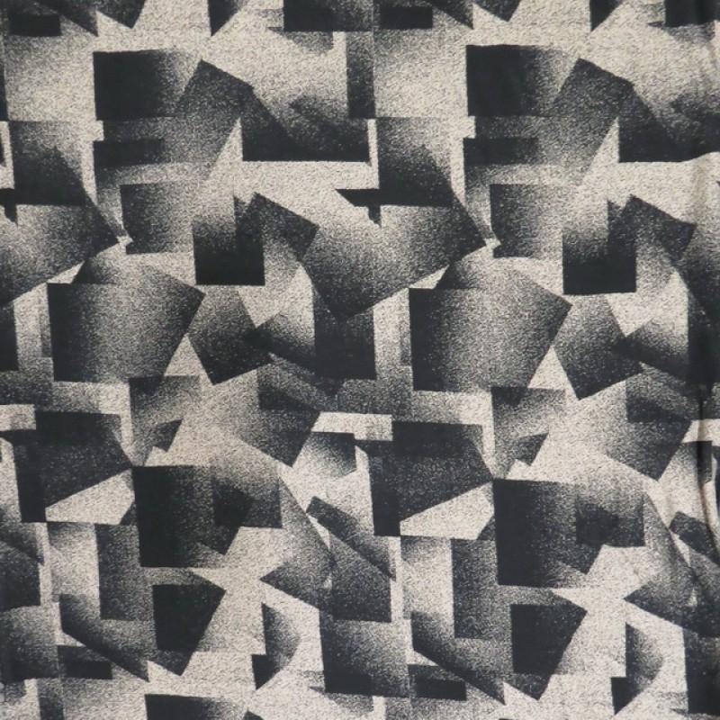100% viskose med firkant-mønster i sort og pudder-beige-324