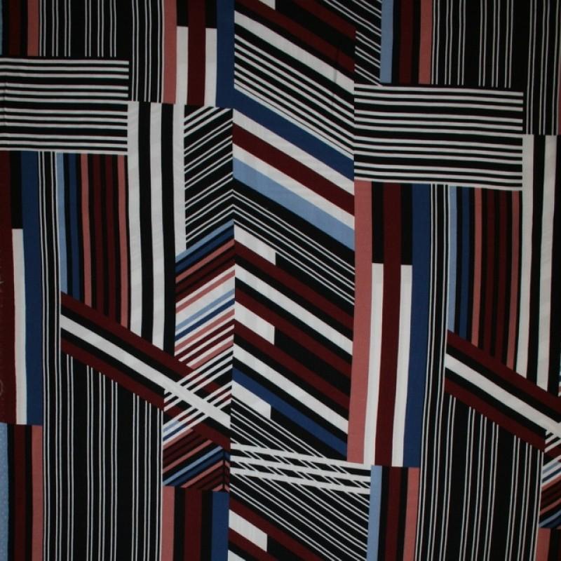 100% viskose med stribe-mønster i sort rosa blå-311