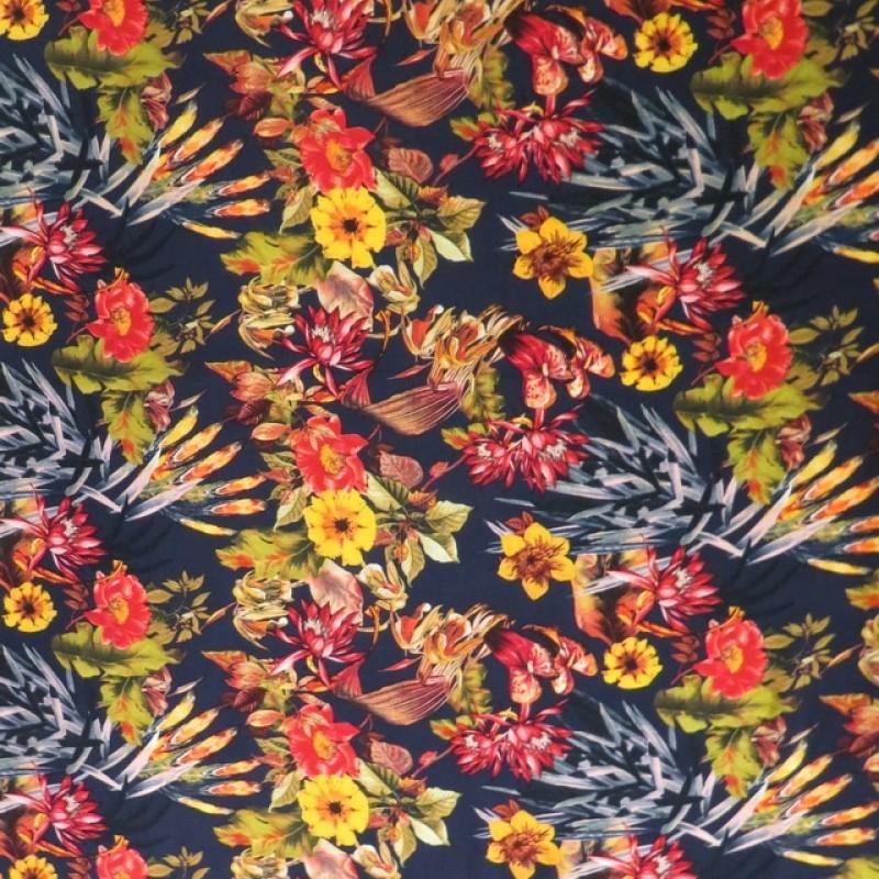 100% viskose med blomster, mørkeblå, gul, rød-313