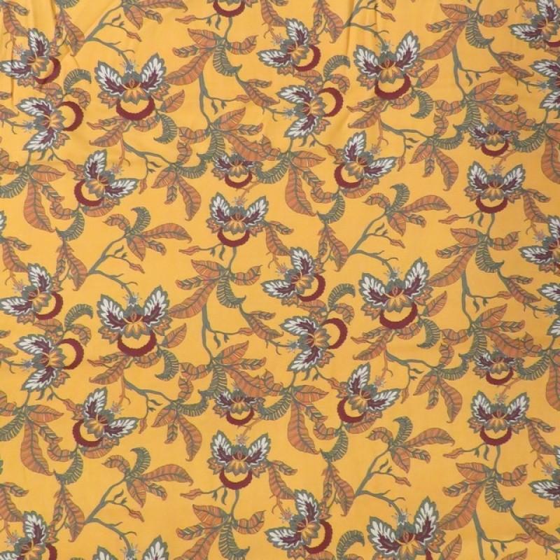 100% viskose twill-vævet carry-gul med blomster-blade-326