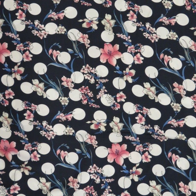 100% viscose med digitalt print i marine med bomber and blomster-311