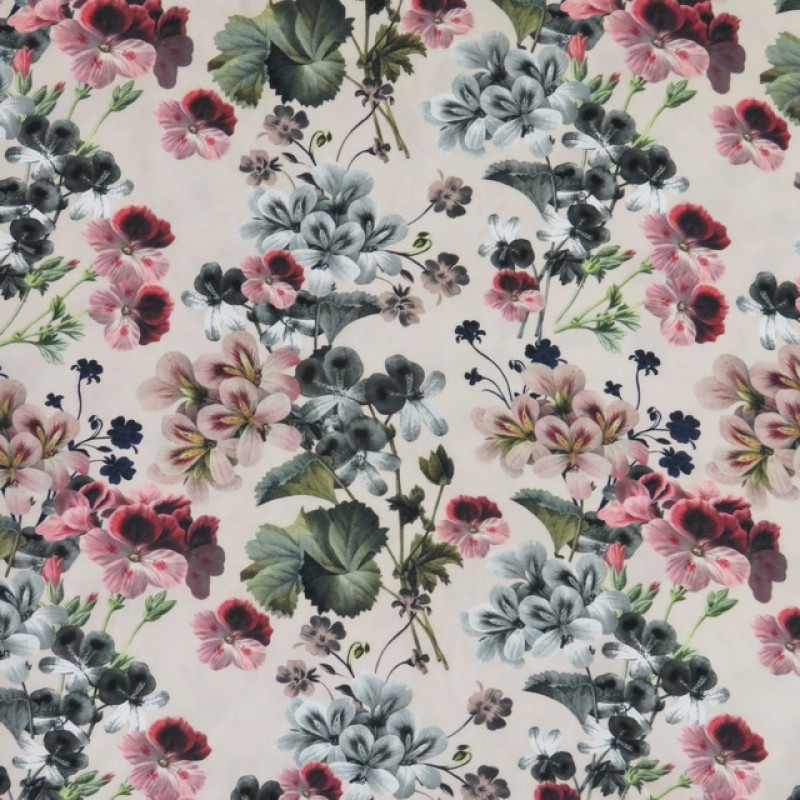 100% viscose med digitalt print i lys laks blomster-313