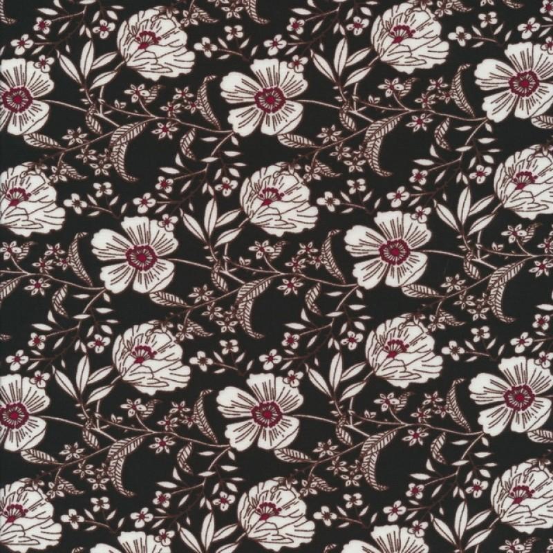 100% viskose blomstret i sort, knækket hvid og mørk rød-323